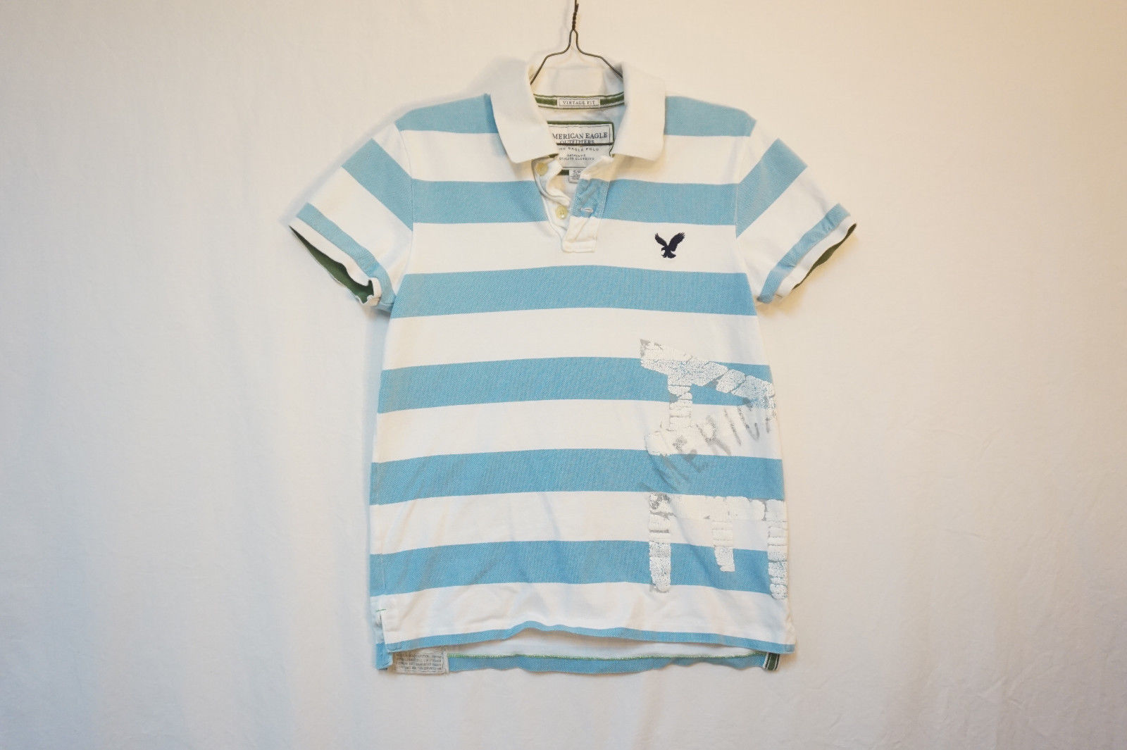 9e2981db4b8 American Eagle Midweight Cotton Polo Shirt, Striped, Men's Small 8532 -  $13.17