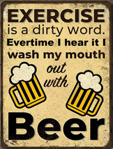 Exercise is a Dirty Word Drink Beer | Wall Decor, bed, bath - $31.67