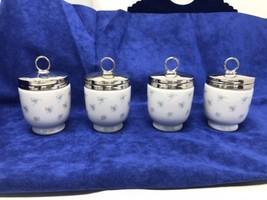 New 4 RARE Vintage Royal Worcester Egg Coddler Cottage Blue Flower Design - $127.00