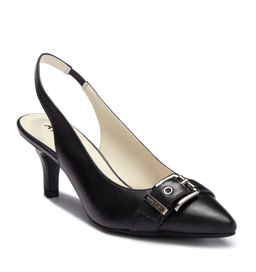 NEW ANNE KLEIN BLACK RED LEATHER POINTY SLINGBACK PUMPS SIZE 7.5 M 8 M 8.5 M $80 - $32.77 - $35.62