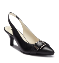NEW ANNE KLEIN BLACK RED LEATHER POINTY SLINGBACK PUMPS SIZE 7.5 M 8 M 8... - $39.99