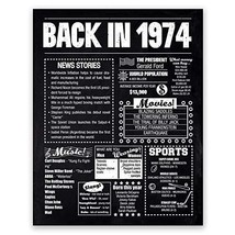 8x10 1974 Birthday Gift // Back in 1974 Black and White Poster // 46th Birthday