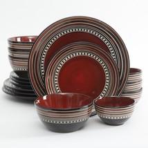 Gibson Elite Café Versailles 16 Piece Double Bowl Dinnerware Set - Red - $72.95