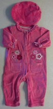 Girl's Size 6-9 M Months 2 Pc Bright Pink Baby Togs Velour Floral Romper & Cap - $6.50