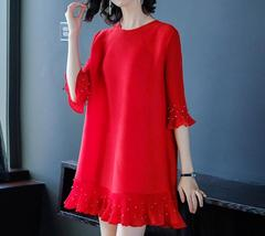 Beaded stretch half sleeve red color dress spring shift dress one size - $45.50