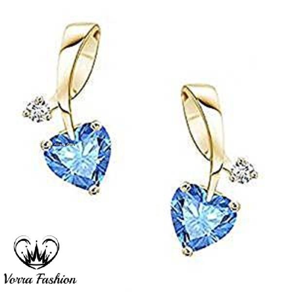 Heart Shape Stud Earrings 18k Yellow Gold Plated 925 Pure Silver Blue Topaz & CZ - $42.76