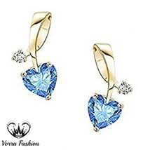 Heart Shape Stud Earrings 18k Yellow Gold Plated 925 Pure Silver Blue To... - $42.76