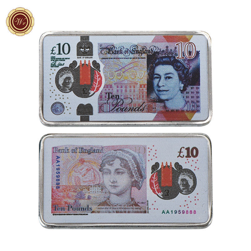 WR England 2017 New 10 Pound Note Printed Silver Clad Bar Great Britain Keepsake