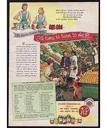 Fruits & Vegetables A&P Interior Market 1945 Photo AD - $14.99