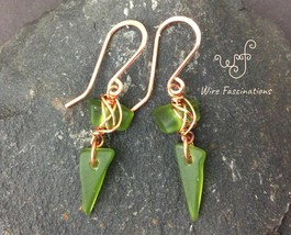 Handmade copper wire wrapped emerald green sea glass spike earrings - $31.00