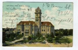 City Hall Postcard Fort Worth Texas 1909 Curt Teich - $13.86