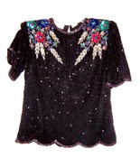 Sz M ~ Laurence Kazar Black Beaded Top w/Colorful Beaded Floral Shoulders   - $71.25