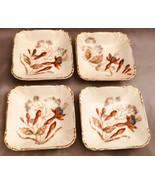 """Vintage Salt Cellars Set of 4 Trimmed in Gold 3"""" Square Flower Motif - $18.45"""