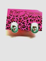 Halloween Betsey Johnson Lady Blue Enamel Skull Face Punk Post Earrings - $8.99