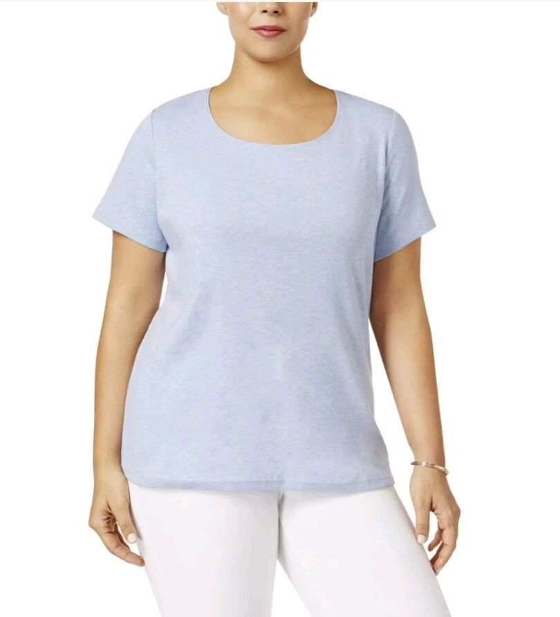 Karen Scott  3X Womens Heathered Scoop Neck Casual Top Shirt Plus NEW