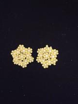 Vintage Estate Beautiful Yellow W/RHINESTONE Flower Coro Earrings - $1.97