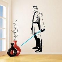 (42'' x 79'') Star Wars Vinyl Wall Decal / Obi Wan Kenobi with Blue Lightsaber D - $82.10