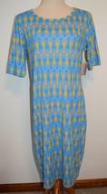 New LuLaRoe Dress Julia Blue Yellow Teal Arrows Short Sleeve Stretch Knit XL - $26.17