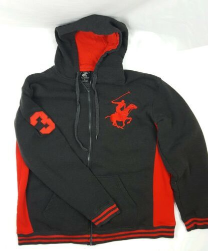 Primary image for Beverly Hills Polo Hoodie XL Full Zip Grey Red Sweater Large Pony *2 Small holes
