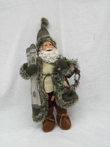 Vtg Green Brown & Tan Woodsy Pier Noel Santa Claus Christmas Tabletop De... - $17.99