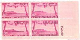 1952 Diamond Head Plate Block of 4 US Airmail Stamps Catalog Number C46 MNH