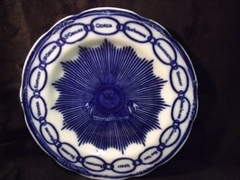 "Antique Staffordshire Flow Blue Martha Washington 8 7/8"" Chain of States Plate  - $33.66"