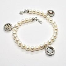 Bracelet en Argent 925 avec Perles de D'Eau Douce Camée Camée Zirconia C... - $120.33