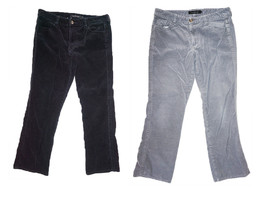 2 Lot - Vintage Calvin Klein Cord Style - Gray & Black Corduroy Pants Si... - $24.88