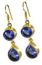 Blue Gold Plated Glass fine-looking Blue Shappire CZ easily Earring AU gift - $9.84