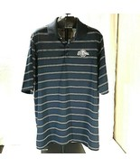 Milwaukee Brewers Official MLB Antigua Men's Polo Navy Blue Striped 1/4 ... - $28.95