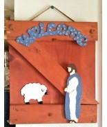 Primitive Wooden Cedar Religious Wall/Door Hanging Welcome Plaque - $18.32