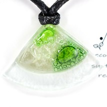 Handmade Recycled Fused Glass Green Triangle Pie Slice Necklace Made in Ecuador image 2