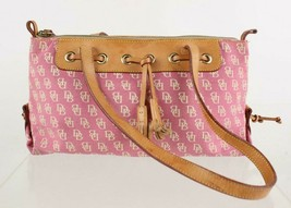 Dooney & Bourke Pink Signature Leather Trim Canvas Tassel Shoulder Bag Purse - $26.73