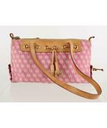 Dooney & Bourke Pink Signature Leather Trim Canvas Tassel Shoulder Bag P... - $26.73