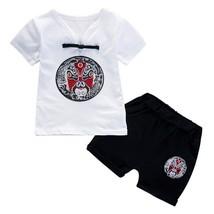 2 piezas verano bebé niños niñas conjunto impresión China Camiseta de manga - $12.59