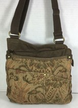 Fossil Brown Fabric Tapestry Multi Pocket Multi Compartment Wallet Shoulder Bag - $38.79