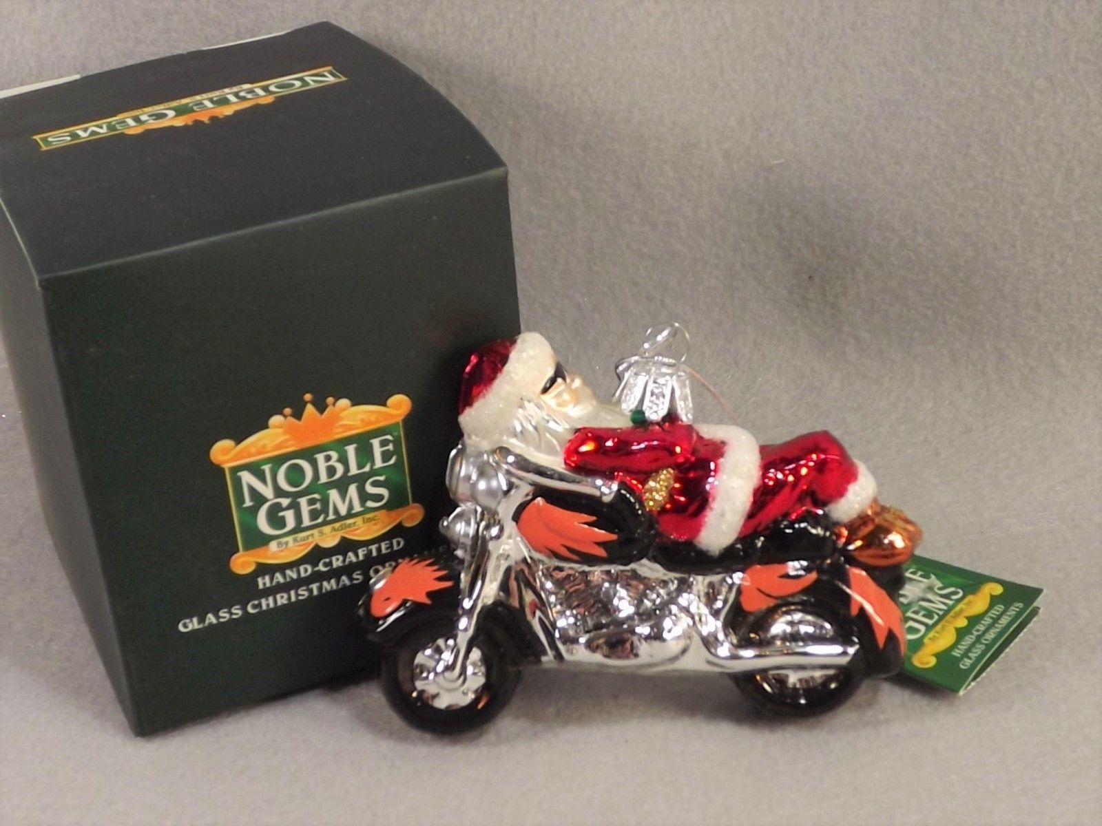 Kurt Adler Noble Gems Santa on Motorcycle Ornament C4280
