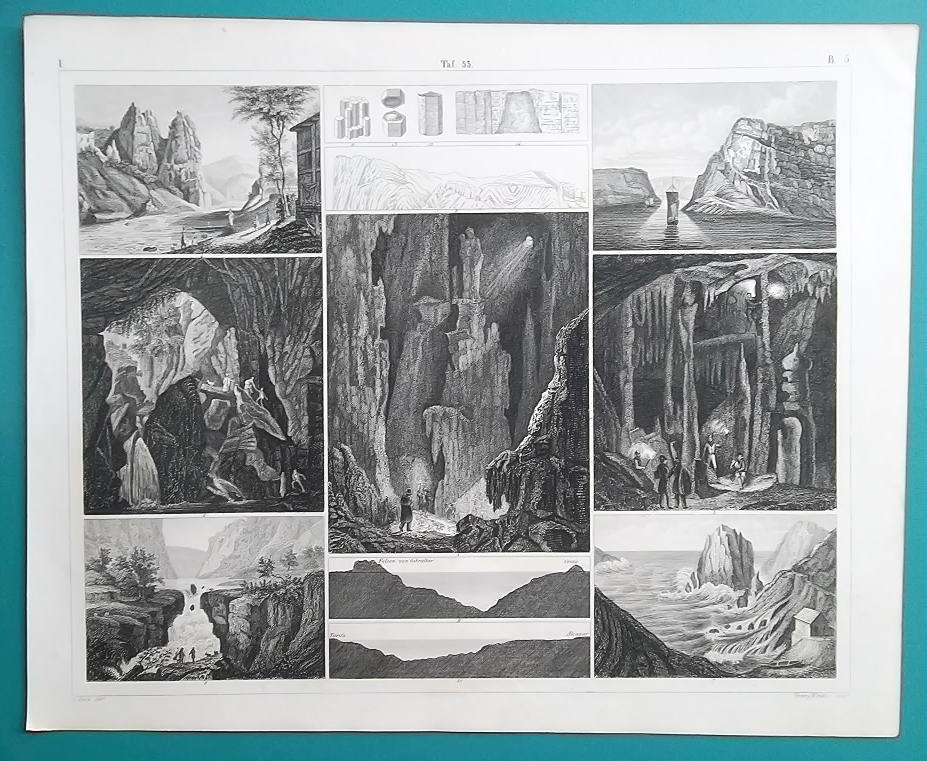 Primary image for GEOLOGY World Caves Caverns France England Spain Gibraltar - 1844 Superb Print
