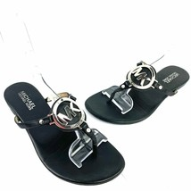 MICHAEL Michael Kors Black Leather Logo Thong Sandal Slides Women's Size 6 Med - $24.74