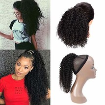 Seelaak Afro Kinky Curly Human Hair Bun Ponytail Extensions 110g/set Natural Bla