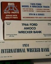 3 Wreckers 1929 Ford Model A 1931 International 1966 Amoco Ertl Truck Bank Lot - $49.45