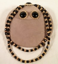 VINTAGE GOLD & BLACK BEAD NECKLACE & CLIP ON EARRING SET ADAM MELDRUM AN... - $25.73