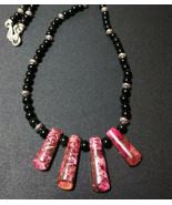 Rare Natural Stone Pink Jasper and Obsidian Beaded Necklace  Men Women  - $24.74