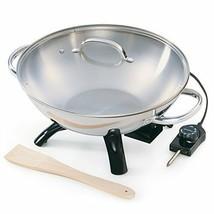 "Electric Wok Stir Fry Pan Lid 1500w Power 17"" Stainless Steel Wooden Spa... - $93.95"