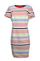 Brooks Brothers Womens White Red Striped Short Sleeve Sheath Dress Sz 14... - $33.65