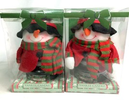 Yankee Candle Balsam & Cedar Jar Candles w/ Christmas Snowman Covers - L... - $37.36