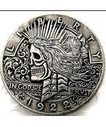 New Rare New Hobo Nickel 1922 Peace Dollar Skull Skeleton Casted Crafted... - $11.99