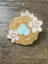 Vintage Gold Tone Robin's nest blue eggs Pin  - $13.32
