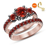 18K Rose Gold Plated 925 Silver Round Cut Red Garnet Engagement Wedding Ring Set - $92.99