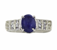 Natural Tanzanite Oval Gemstone Designer 925 Sterling Silver Ring Sz 7 S... - $41.60